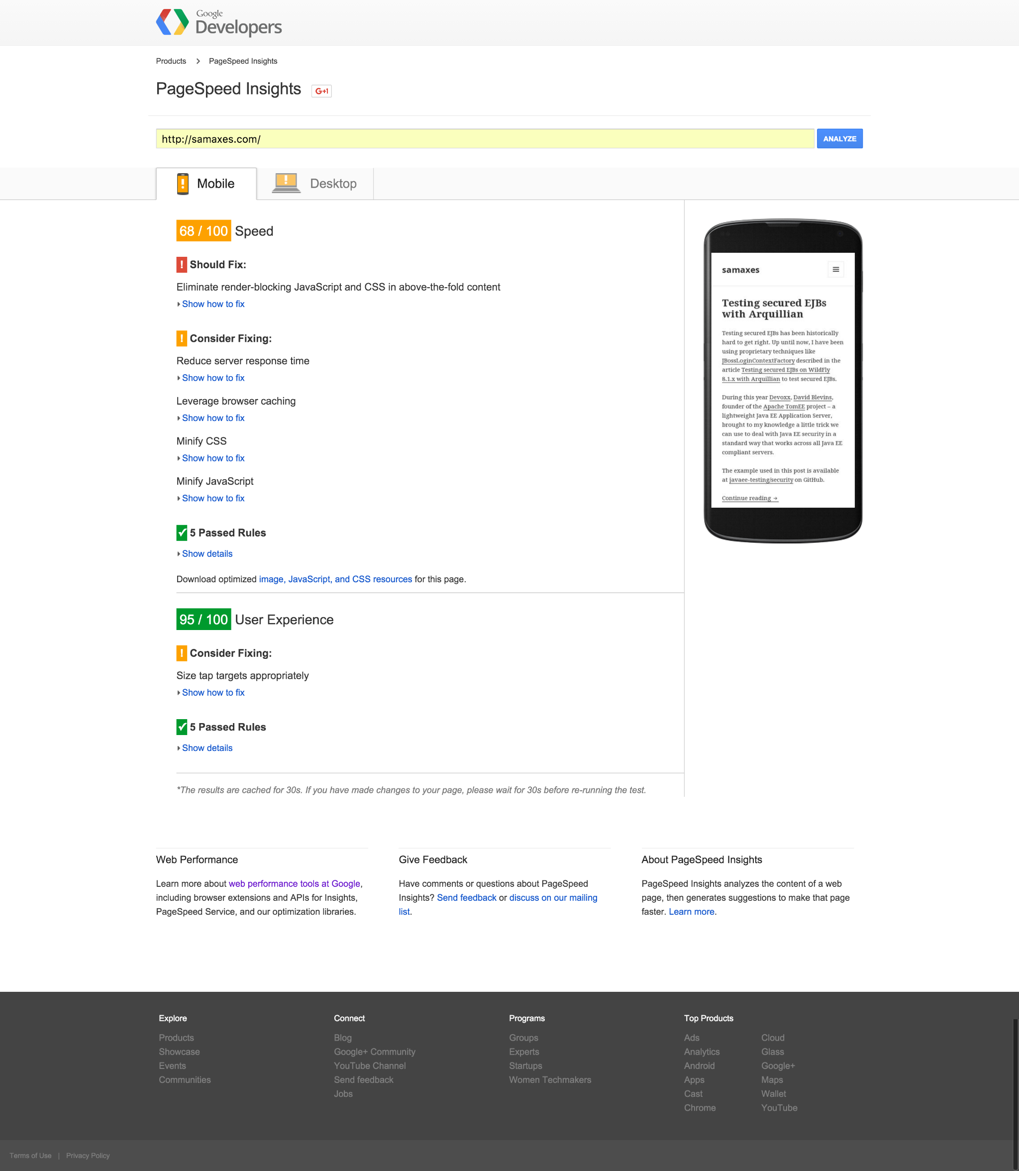 PageSpeed Insights for the mobile with WordPress hosted on DigitalOcean.